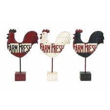 Farm Fresh Kitchen Rooster Garden Signs (Set of 3)