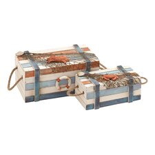 Wood Box with Design and High Quality Wood (Set of 2)
