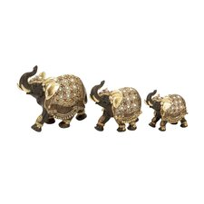 3 Piece Elephant with Intricate Detailing Figurine Set