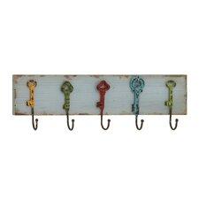 Captain Key Styled Wood & Metal Coat Rack