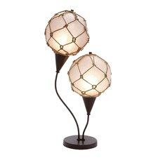 "Metallic Fishing Net 28"" H Table Lamp with Globe Shade"