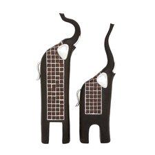 2 Piece Trumpeting Elephants Décor Figurine Set