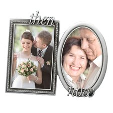 2 Piece 4'' x 6'' Wedding Krystal Then & Now Picture Frame Set
