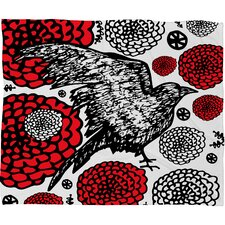 Julia Da Rocha Raven Rose Fleece Throw Blanket