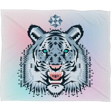Chobopop Snow Tiger Plush Fleece Throw Blanket