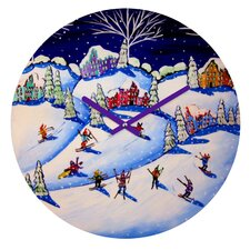 Renie Britenbucher Winter Skiing Fun Wall Clock