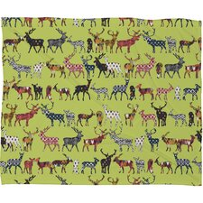 Sharon Turner Pistachio Spice Deer Plush Fleece Throw Blanket