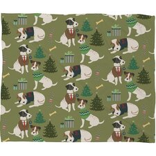 Pimlada Phuapradit Christmas Canine Jack Russell Fleece Polyester Throw Blanket