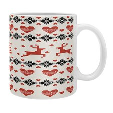 Natt Knitting Deer White Hearts Coffee Mug