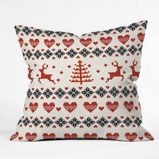 Natt Knitting Deer White Hearts Throw Pillow