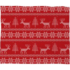 Natt Christmas Knitting Deer Fleece Polyester Throw Blanket