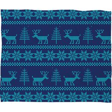 Natt Knitting Deer Fleece Polyester Throw Blanket