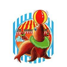 'Balancing Circus Seal' Painting Print