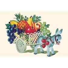 'Donkey Fruit Cart' Painting Print