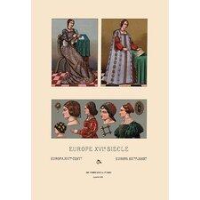 'Feminine Dress of 16th Century Europe' by Auguste Racinet Graphic Art
