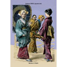 'Japanese Women and Child, 19th Century' by Richard Brown Painting Print