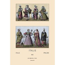 'Traditional Italian Dresses' by Auguste Racinet Graphic Art