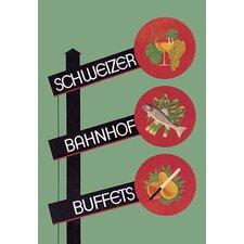 'Schweizer Bahnhof Buffets' by Charles Kuhn Vintage Advertisement