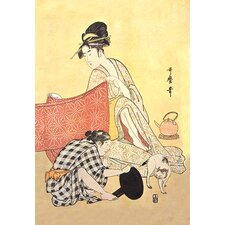 Two Women and a Cat by Utamaro Painting Print