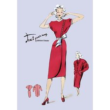 Red Dress with Matching Overcoat Painting Print