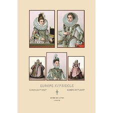 'Feminine Fashions of the European Aristocracy' by Auguste Racinet Graphic Art