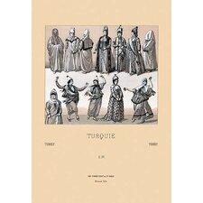 'Feminine Turkish Dress' by Auguste Racinet Graphic Art