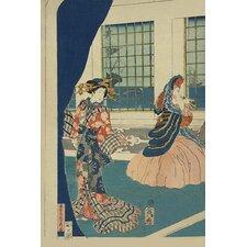 'Courtesans in a Western-Style Building of Yokohama' by Sadahide Utagawa Painting Print