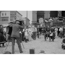 'Photographer Taking Picture of Group with Donkey' Photographic Print