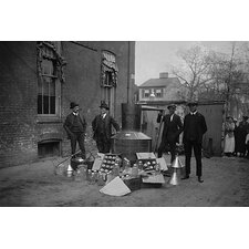 'Onlookers Watch as Suited Men Stand in Front of A Large Copper Kettle' Photographic Print