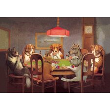 Passing the Ace under the Table (Dog Poker) by Coolidge Painting Print on Wrapped Canvas