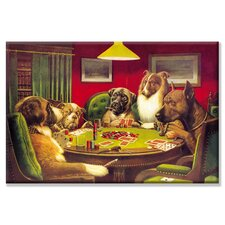Dog Poker - 'Is the St. Bernard Bluffing?' by C.M. Coolidge Painting Print on Wrapped Canvas