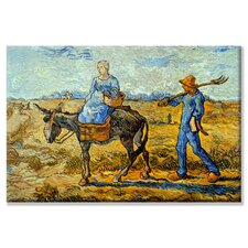 Morning Pitchfork His Wife Riding a Donkey And Carrying a Basket Painting Print on Wrapped Canvas