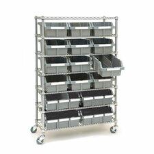 "Classics 14"" Deep Commercial 7 Shelf Bin Rack Storage System"