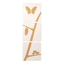 Caterpillar to Butterfly Tile Graphic Art Set (Set of 3)