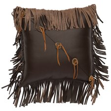 Fringe and Sliced Antler Buttons Leather Throw Pillow