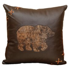 Decorative Bear Cut Out Leather/Suede Throw Pillow