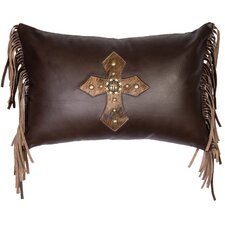 Cross Antique Concho and Spots Leather Lumbar Pillow