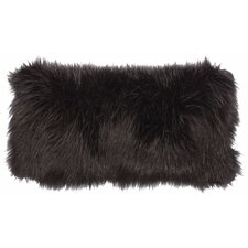 Black Fox Faux Fur Lumbar Pillow