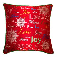 Holiday Elegance Joy Hope Love Silk Throw Pillow