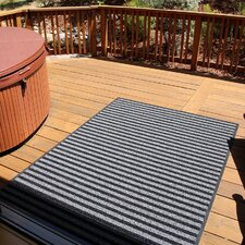 Brush Stripes All Weather Black/Gray Outdoor Area Rug
