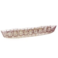 Costa Brava Iron Boat with 9 Mercury Glass Candle Holder