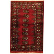 Hand-Knotted Red/Ivory Area Rug