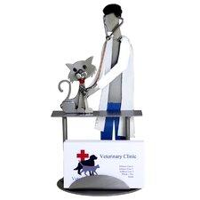 Veterinarian Examining Cat Business Card Holder