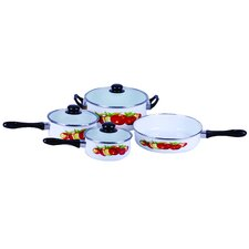 Traditional Fruit Design Enamel 7 Piece Cookware Set