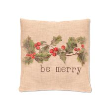 Holly be Merry  Polyester Fabric Throw Pillow