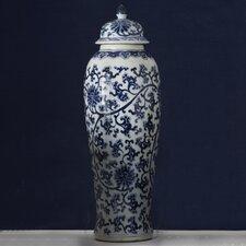 Lotus Covered Tall Temple Jar