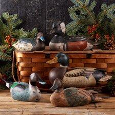 5 Piece Hand Carved Duck Figurine Set