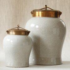 2-Piece Large Crackle Jar Set