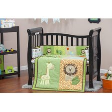 Safari Animals Portable 3 Piece Crib Bedding Set