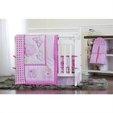 Butterfly and Flower 5 Piece Reversible Portable Crib Bedding Set
